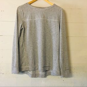 Loft Striped Metallic Silver Long Sleeve Top